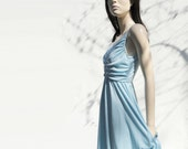 1970s Vintage Powder Blue Pastel Long Dress s / m