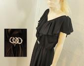 70s Dress Vintage 1970s Lux Boho Black Ruffles /  L