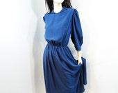 Vintage Dress 1980s Cobalt Blue Dolman Sleeve 80s Size M