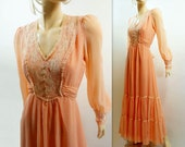 Vintage Maxi Dress Peach Coral Boho Wedding Long Dress Size Small