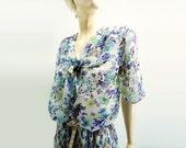 Sale Vintage Dress 80s Pastel Blue Floral Chiffon Summer 1980s Dress Size Medium