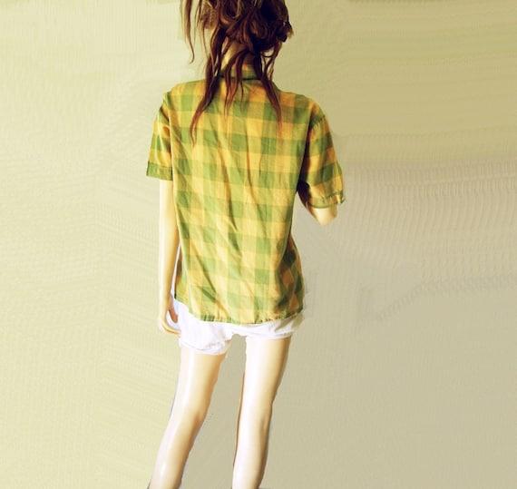 1960s Straw and Sage Vintage Plaid Shirt Sz M, L