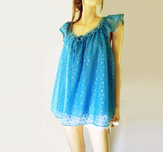 1960s Vintage Azure Blue Baby Doll Nighty Sz M