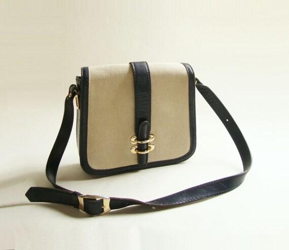 1960s Linen and Leather Mod Shoulder Bag