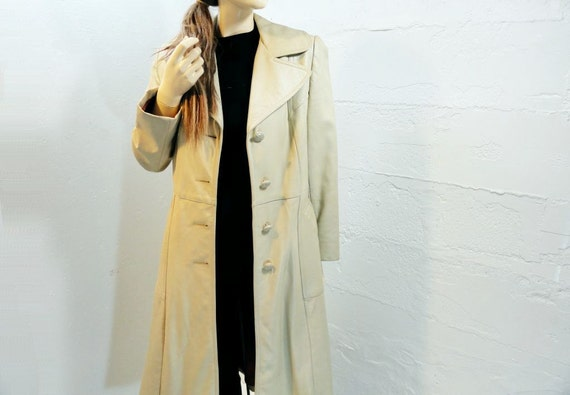 Vintage Trench 70s Leather Coat Long 1970s Bone White  / S / M