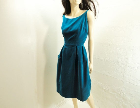 60s Dress 1960s Vintage Velvet Cerulean Sapphire Size S
