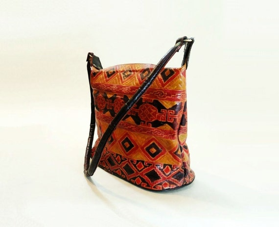 80s Tribal Bag / 1980s Vintage Leather Purse