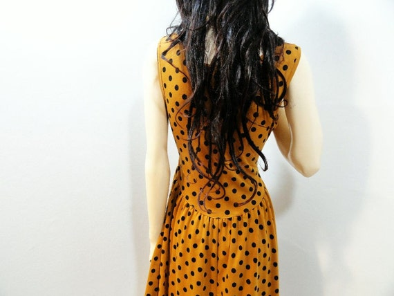 1980s Vintage Mustard Polka Dot Dress Size Small