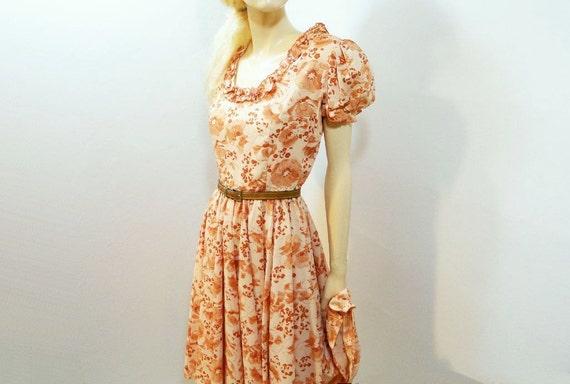 Vintage 1960s Dress Terracotta Prairie Dance Dress Size S