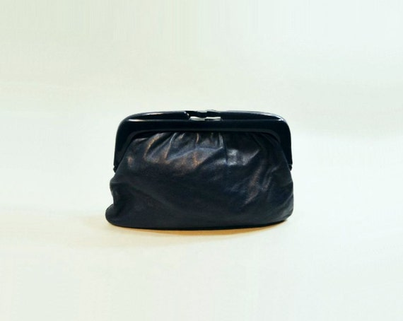 1980s Vintage Clutch Small Navy Leather Bag