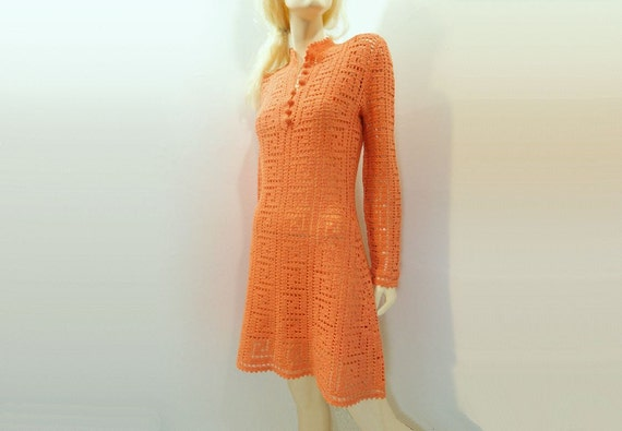 Vintage Dress 1960s Orange Mod NOS Crochet Handmade Dress Size Small