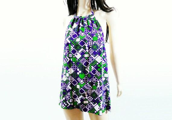 Vintage 60s Dress 1960s Mini Neon Abstract Summer Dress XS, S