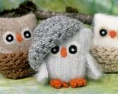 Adopt a Baby Owl ... angora eco wool felt owl and nest (woolcrazy)