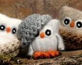 Adopt all three Baby Owls ... angora eco wool felt owls nests brown white gray (woolcrazy)