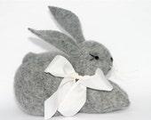 Gray plush Bunny... simple Waldorf Style recyceld wool (woolcrazy)