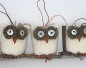 Wholesale lot of 20... Snowy Owl ... eco felt winter white wool ornament all recycled materials (woolcrazy)