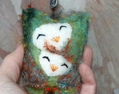 Mother Owl Talisman ...Mothers Day Love eco friendly green wool (woolcrazy)