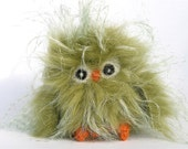 Plushie chartreuse green baby Owl kiwi the sweet recycled faux fur wool felt rare bird (woolcrazy)