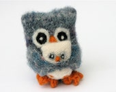 Papa Owl and Baby gray blue patterned wool felt upcycled doll ecofriendly Father child Father's Day (woolcrazy)