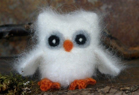 Moonlight the baby Owl ... angora eco wool felted owl (woolcrazy)