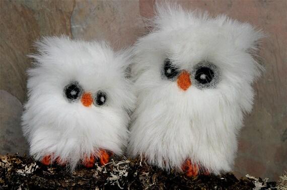 Two Plush Snowy Owls eco friendly toy snow white faux fur felt friends (woolcrazy)