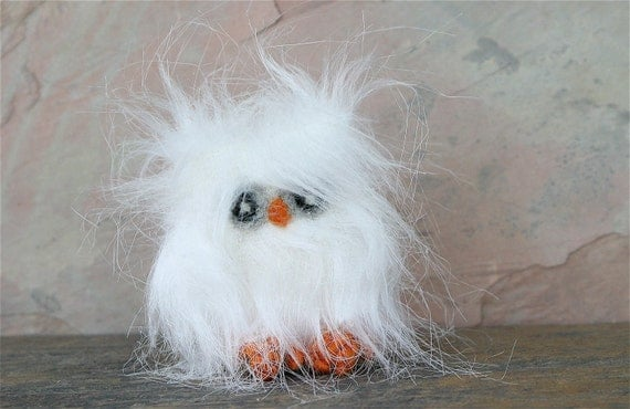 Furry white baby Owl Owlthea sweet recycled faux fur wool felt rare bird (woolcrazy)