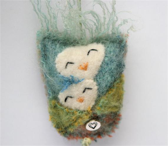 Mother Owl Talisman ...Mothers Love eco friendly green wool (woolcrazy)