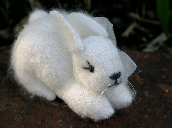 Plush White Angora Simple Waldorf Style Bunny Rabbit felt wool kids toy eco friendly ... (woolcrazy)