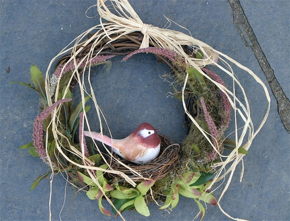 Spring 10 inch grapevine wreath dark Pink and Green flowers bird nest (woolcrazy)