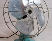 Vintage Industrial Turquoise Blue Green Small Electrical Fan .. Mad Men Style