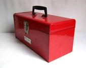 vintage S K Chicago Large Red Industrial Metal Tool Box