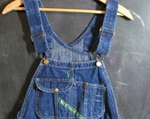 Vintage Dark Wash KEY Blue Denim Jean Bib Overalls .. Carpenter Pants Size W32 x L30