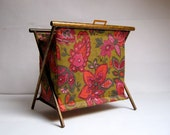 Vintage Folding Sewing Yarn Storage Basket or Magazine Holder