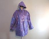 Vintage lilac purple vinyl raincoat w hood and snaps women's Size M