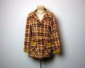 vintage 60s preppy plaid belted jacket coat