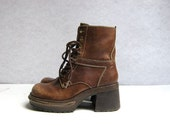 vintage distressed brown leather tall chunky lace up boots 6