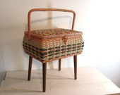 Vintage Wicker Sewing Basket With Wooden Legs / perfect Mother's Day Gift