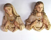 Jesus and Mother Mary chalkware wall hangings / busts