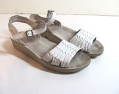 vintage 80s white leather DEXTER strappy peep toe sandals 9 N