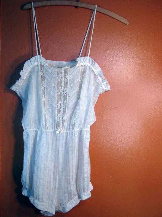 Vintage adorable cream one piece lingerie playsuit