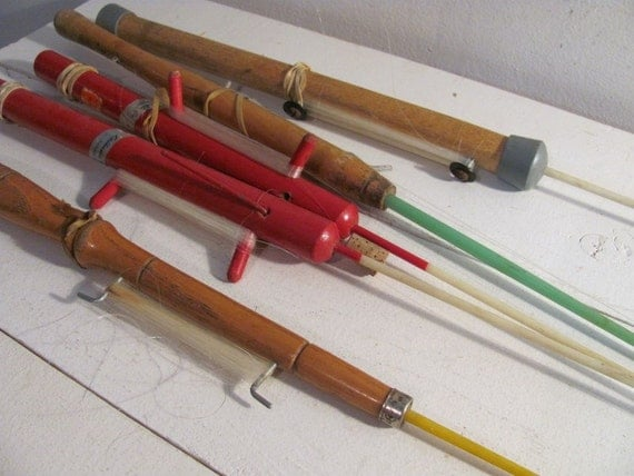 5 vintage wooden ice fishing poles for winter for Vintage fishing poles