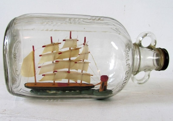 Vintage Miniature Ship In A Glass Bottle