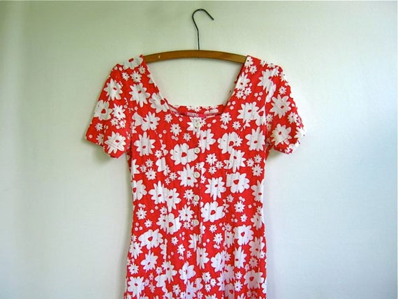 Vintage 1980s red with white flowers romper