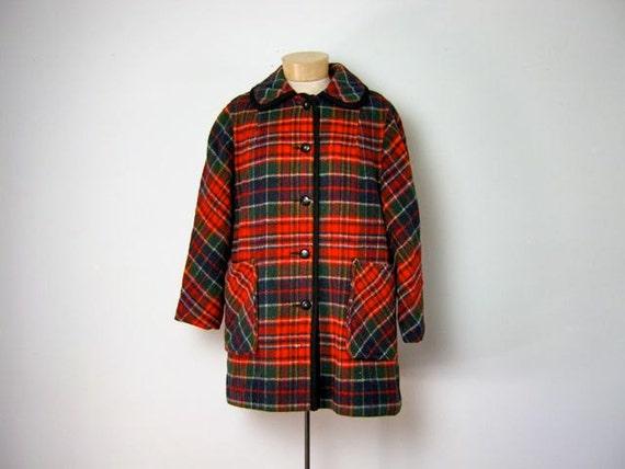 Vintage 1960s Wool Plaid Coat