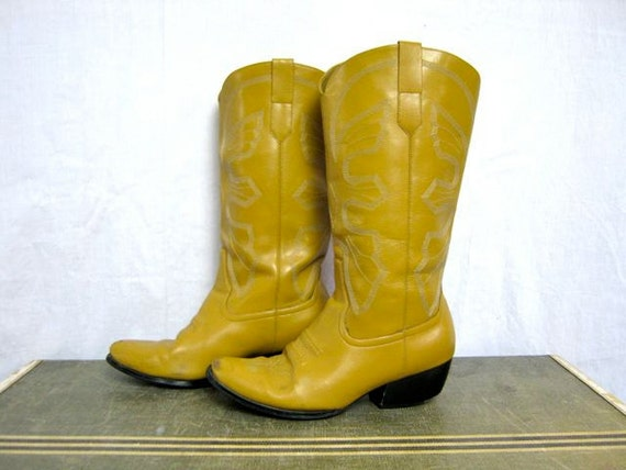 Vintage Yellow Ochre Women S Cowboy Boots
