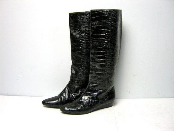 Vintage Black Leather Textured Tall Boots Size 8