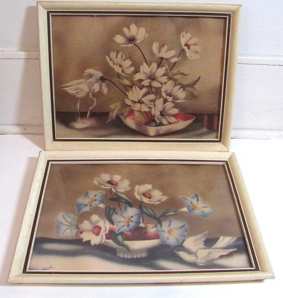 Vintage Framed Pair Of 2 Locke Floral Print By