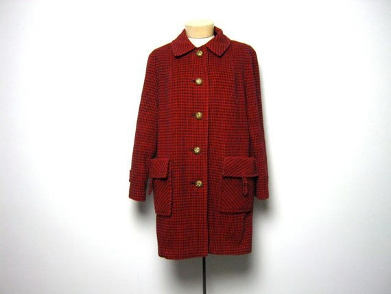 60s red and black houndstooth winter wool coat