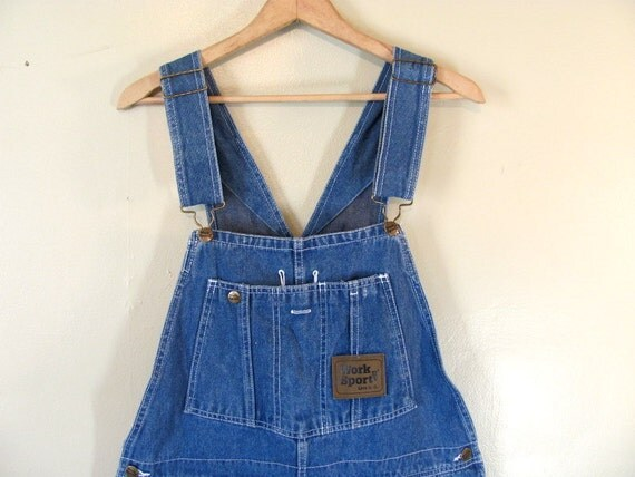 Vintage WORK SPORT Blue Denim Jean Bib Overalls .. Carpenter Pants Size 36 x 32