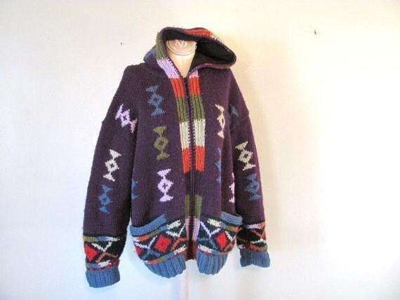 Vintage women's purple ethnic wool sweater coat // Large